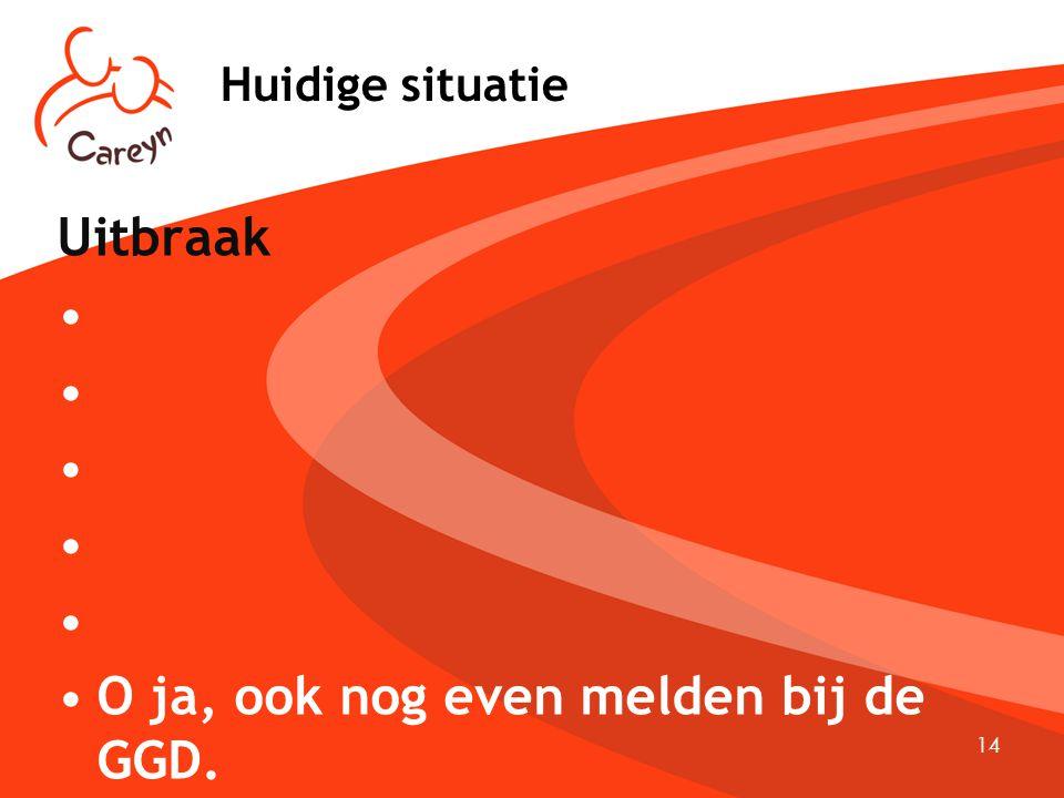14 Huidige situatie Uitbraak O ja, ook nog even melden bij de GGD.