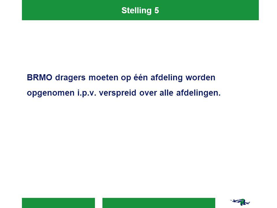 Stelling 5 BRMO dragers moeten op één afdeling worden opgenomen i.p.v.