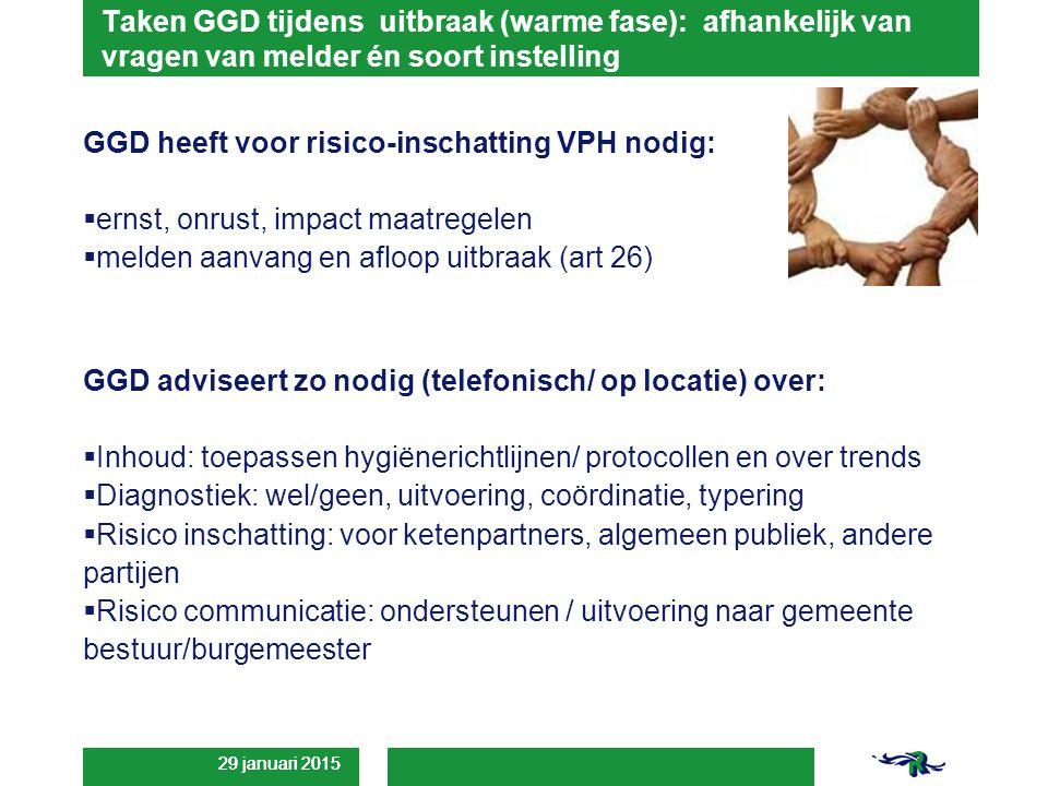 29 januari 2015 Taken GGD tijdens uitbraak (warme fase): afhankelijk van vragen van melder én soort instelling GGD heeft voor risico-inschatting VPH nodig:  ernst, onrust, impact maatregelen  melden aanvang en afloop uitbraak (art 26) GGD adviseert zo nodig (telefonisch/ op locatie) over:  Inhoud: toepassen hygiënerichtlijnen/ protocollen en over trends  Diagnostiek: wel/geen, uitvoering, coördinatie, typering  Risico inschatting: voor ketenpartners, algemeen publiek, andere partijen  Risico communicatie: ondersteunen / uitvoering naar gemeente bestuur/burgemeester