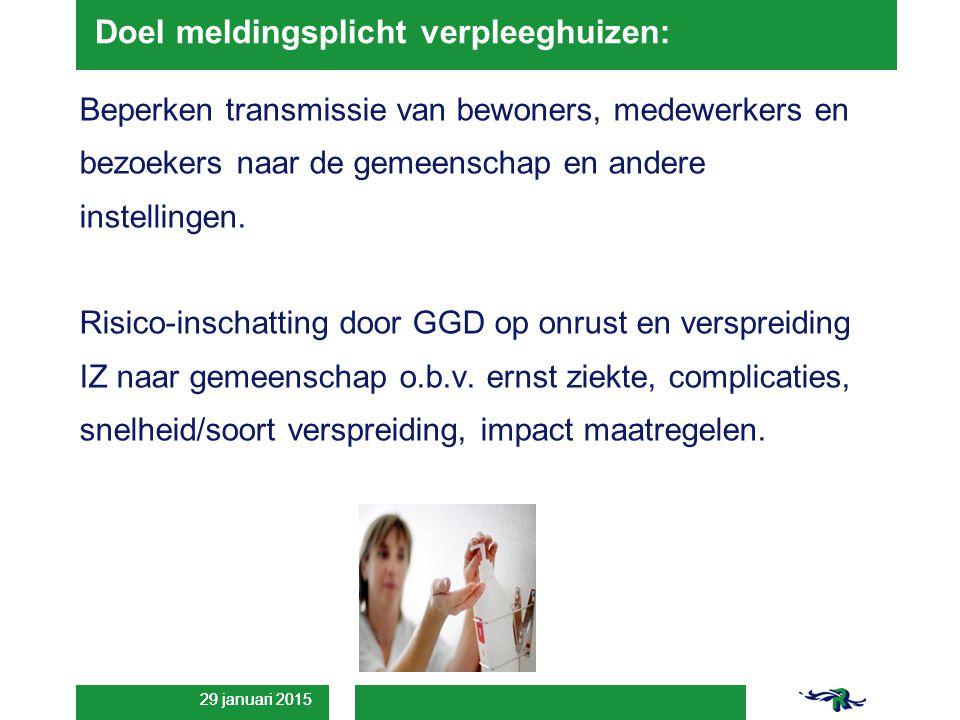 29 januari 2015 Doel meldingsplicht verpleeghuizen: Beperken transmissie van bewoners, medewerkers en bezoekers naar de gemeenschap en andere instellingen.
