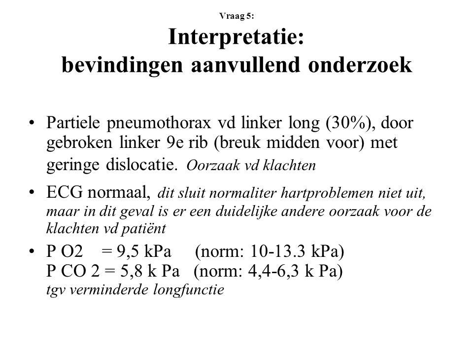 Vraag 5: Interpretatie: bevindingen aanvullend onderzoek Partiele pneumothorax vd linker long (30%), door gebroken linker 9e rib (breuk midden voor) met geringe dislocatie.