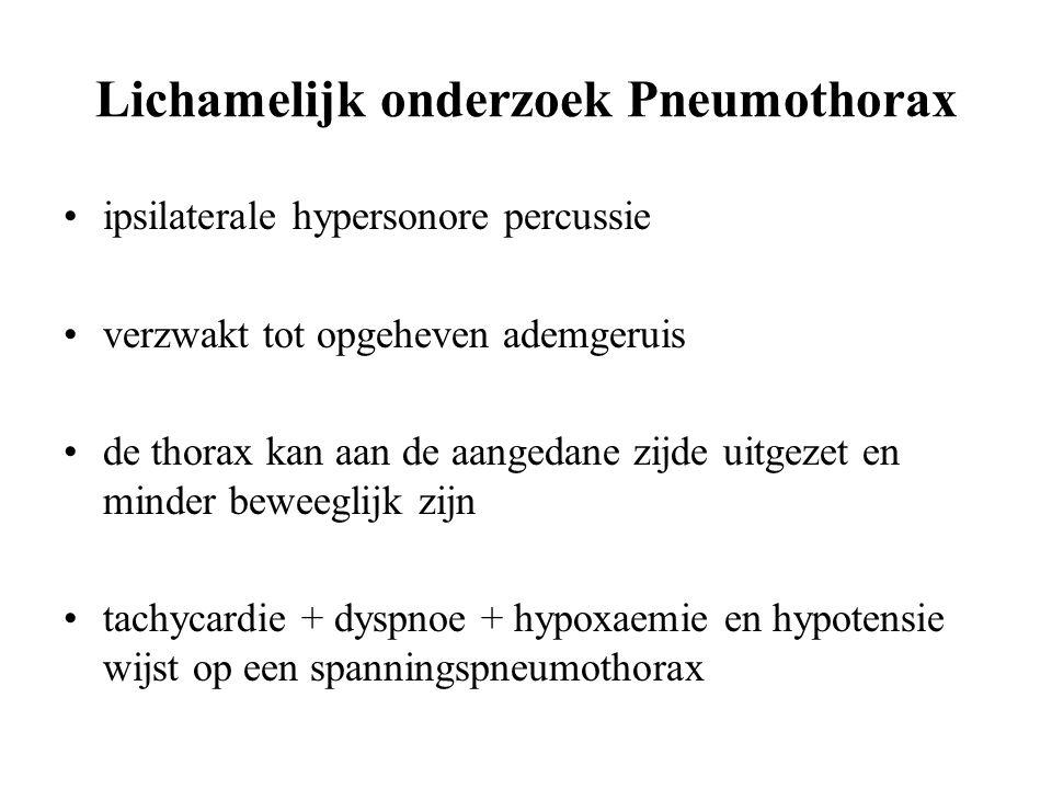 Lichamelijk onderzoek Pneumothorax ipsilaterale hypersonore percussie verzwakt tot opgeheven ademgeruis de thorax kan aan de aangedane zijde uitgezet en minder beweeglijk zijn tachycardie + dyspnoe + hypoxaemie en hypotensie wijst op een spanningspneumothorax