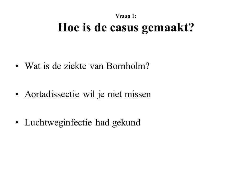 Vraag 1: Hoe is de casus gemaakt.Wat is de ziekte van Bornholm.