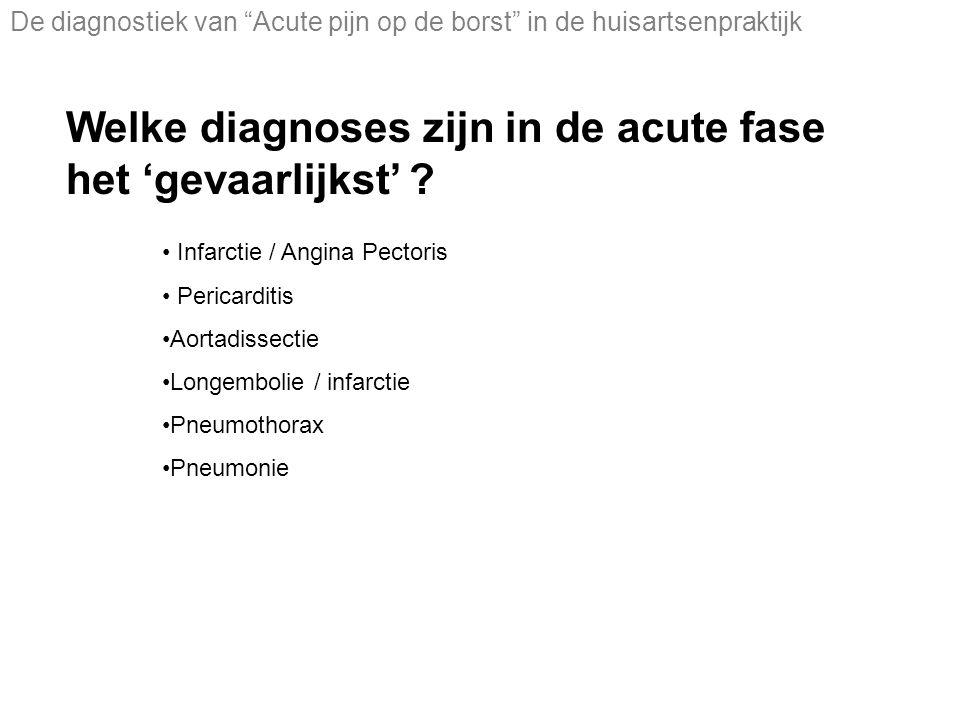 Welke diagnoses zijn in de acute fase het 'gevaarlijkst' .