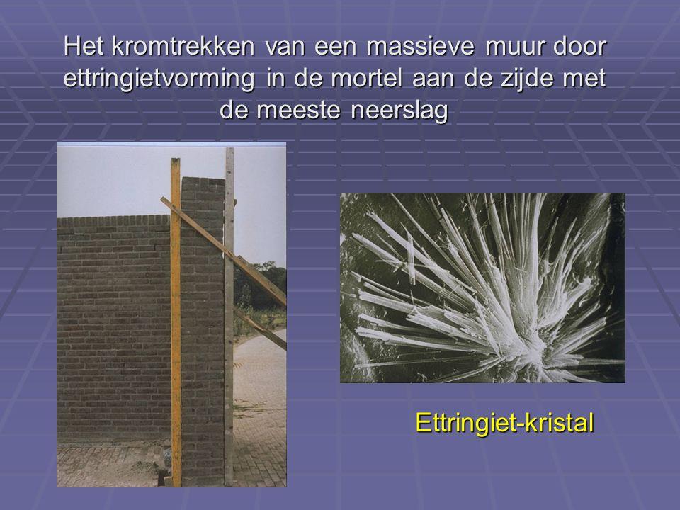 Het kromtrekken van een massieve muur door ettringietvorming in de mortel aan de zijde met de meeste neerslag Ettringiet-kristal
