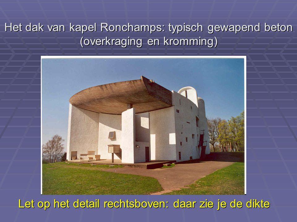 Het dak van kapel Ronchamps: typisch gewapend beton (overkraging en kromming) Let op het detail rechtsboven: daar zie je de dikte