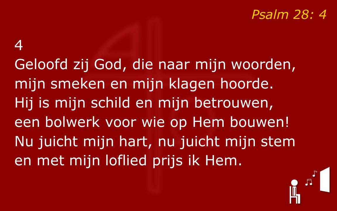 4 Geloofd zij God, die naar mijn woorden, mijn smeken en mijn klagen hoorde.