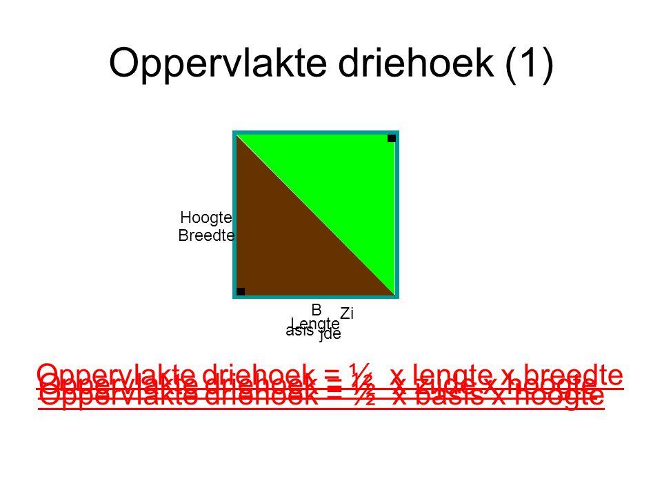 Oppervlakte driehoek (1) Oppervlakte driehoek = ½ x zijde x hoogte Hoogte Zi jde Breedte Lengte Oppervlakte driehoek = ½ x lengte x breedte Oppervlakt