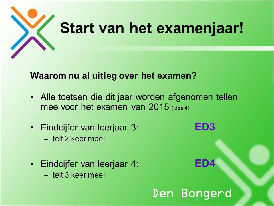 Start van het examenjaar! Waarom nu al uitleg over het examen? Alle toetsen die dit jaar worden afgenomen tellen mee voor het examen van 2015 (klas 4)