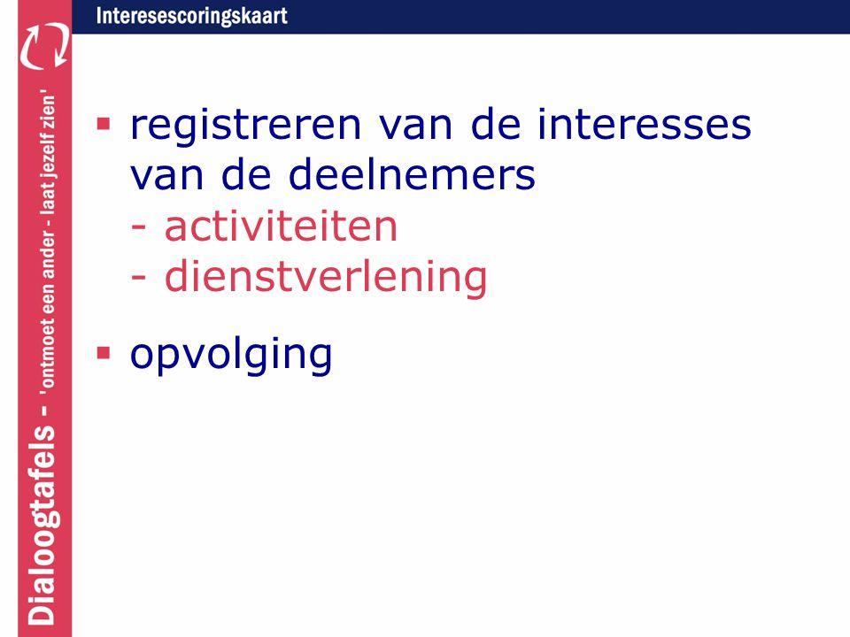  registreren van de interesses van de deelnemers - activiteiten - dienstverlening  opvolging
