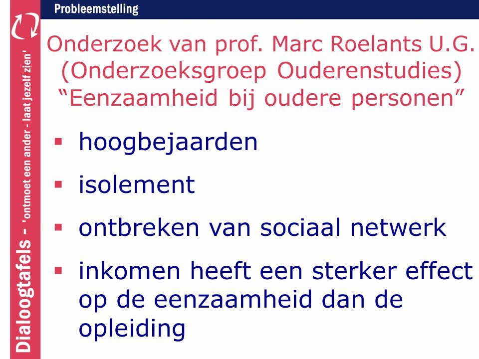 """Onderzoek van prof. Marc Roelants U.G. (Onderzoeksgroep Ouderenstudies) """"Eenzaamheid bij oudere personen""""  hoogbejaarden  isolement  ontbreken van"""