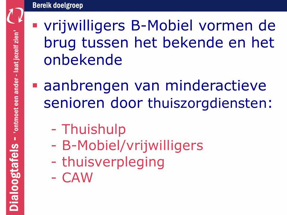  vrijwilligers B-Mobiel vormen de brug tussen het bekende en het onbekende  aanbrengen van minderactieve senioren door thuiszorgdiensten : - Thuishulp - B-Mobiel/vrijwilligers - thuisverpleging - CAW