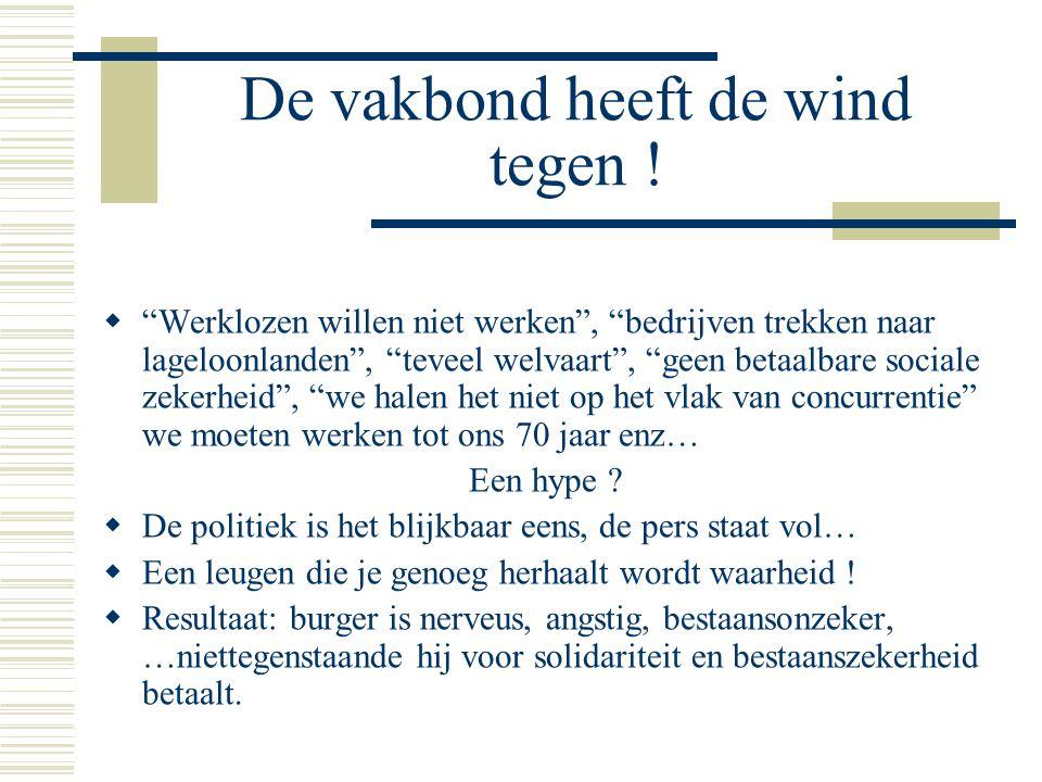 """De vakbond heeft de wind tegen !  """"Werklozen willen niet werken"""", """"bedrijven trekken naar lageloonlanden"""", """"teveel welvaart"""", """"geen betaalbare social"""