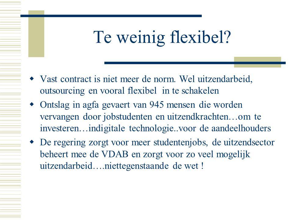 Te weinig flexibel?  Vast contract is niet meer de norm. Wel uitzendarbeid, outsourcing en vooral flexibel in te schakelen  Ontslag in agfa gevaert
