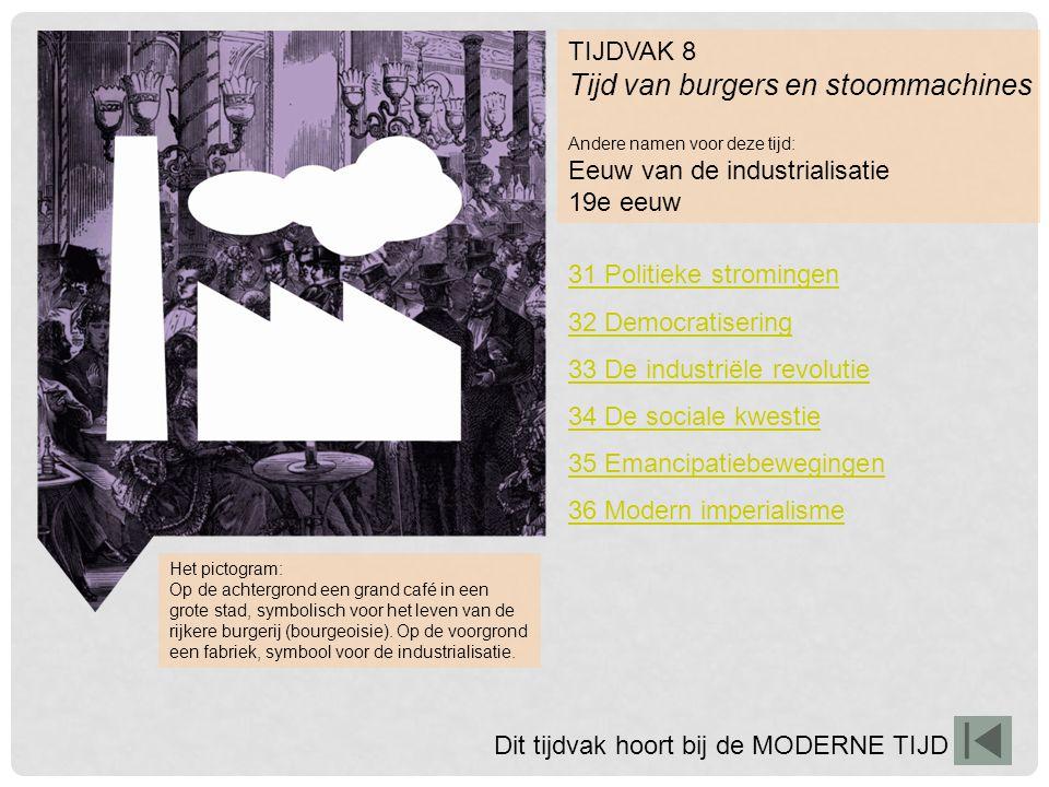 TIJDVAK 8 Tijd van burgers en stoommachines Andere namen voor deze tijd: Eeuw van de industrialisatie 19e eeuw Het pictogram: Op de achtergrond een gr