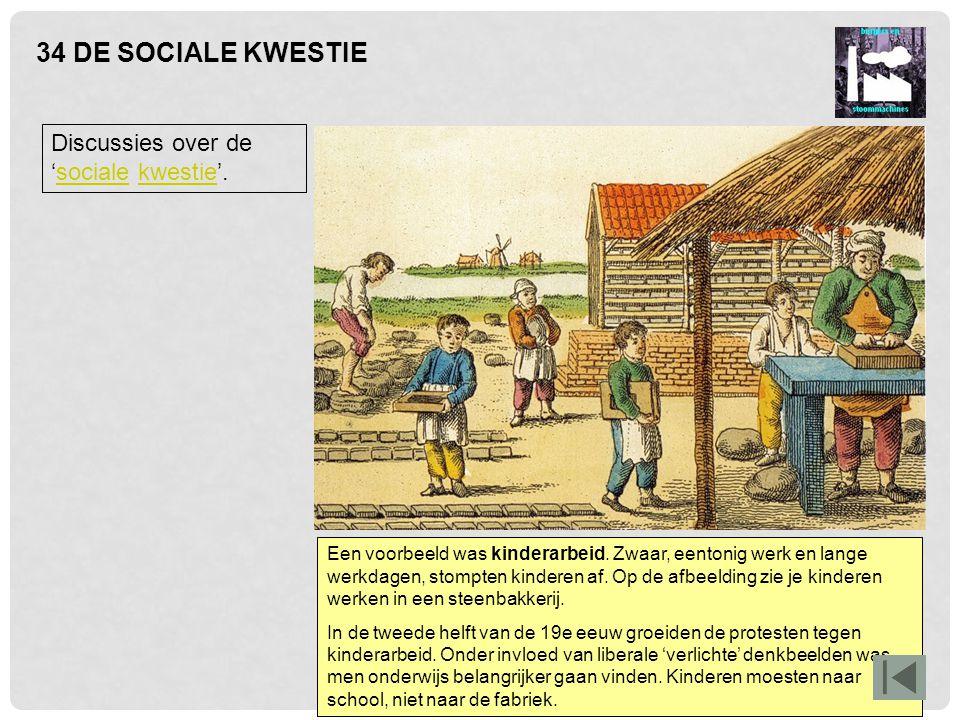 34 DE SOCIALE KWESTIE Discussies over de 'sociale kwestie'.socialekwestie Een voorbeeld was kinderarbeid. Zwaar, eentonig werk en lange werkdagen, sto