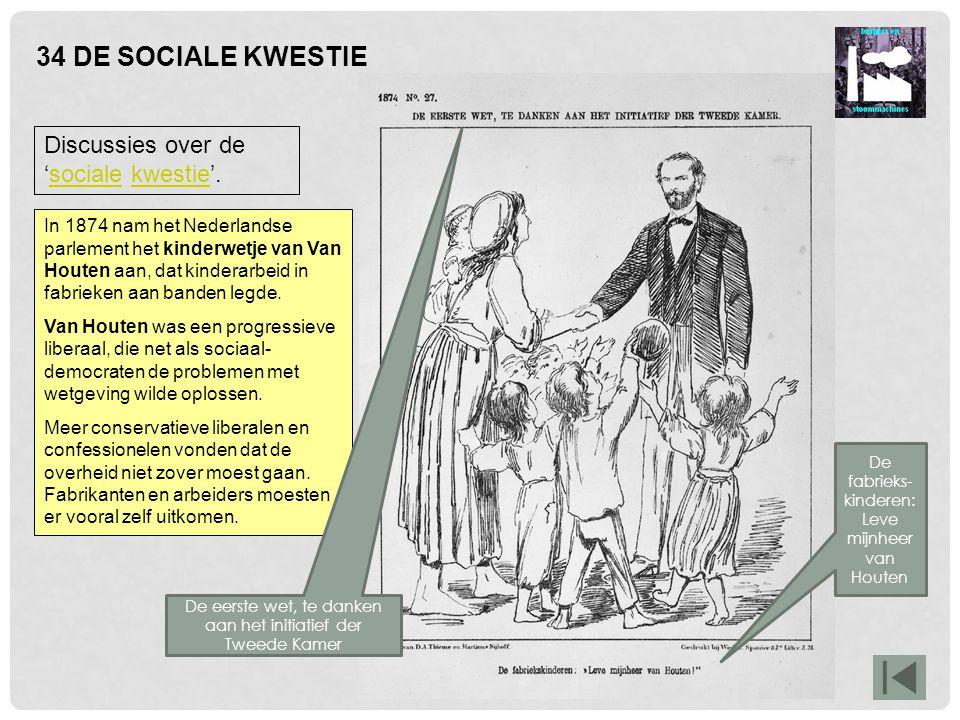 34 DE SOCIALE KWESTIE Discussies over de 'sociale kwestie'.socialekwestie In 1874 nam het Nederlandse parlement het kinderwetje van Van Houten aan, da