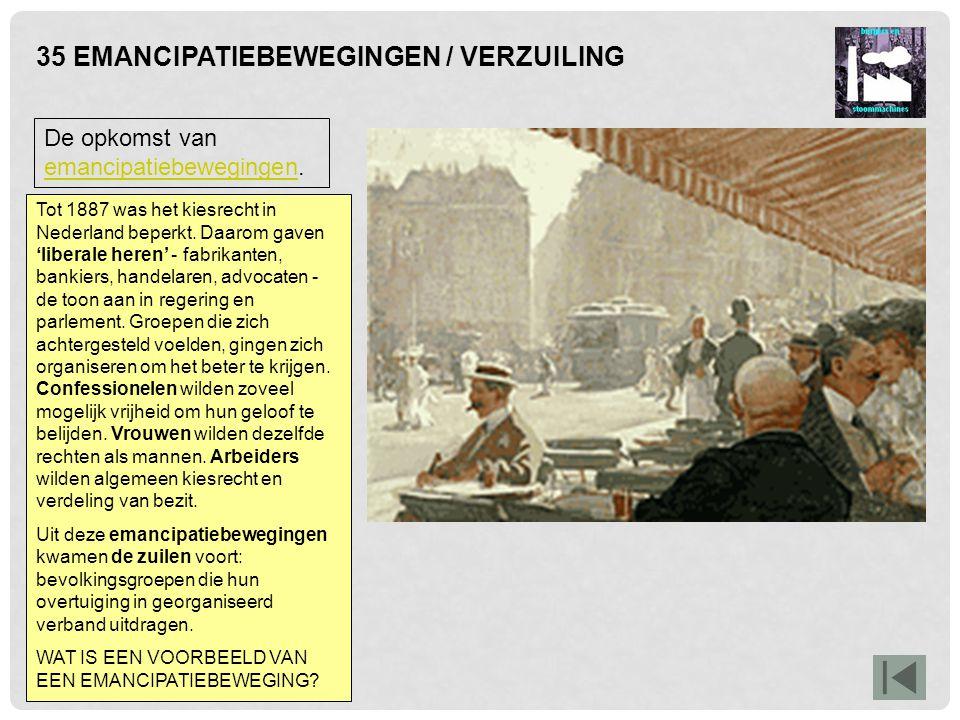 35 EMANCIPATIEBEWEGINGEN / VERZUILING De opkomst van emancipatiebewegingen. emancipatiebewegingen Tot 1887 was het kiesrecht in Nederland beperkt. Daa
