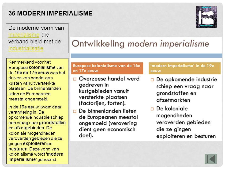 36 MODERN IMPERIALISME De moderne vorm van imperialisme die verband hield met de industrialisatie. imperialisme industrialisatie Kenmerkend voor het E
