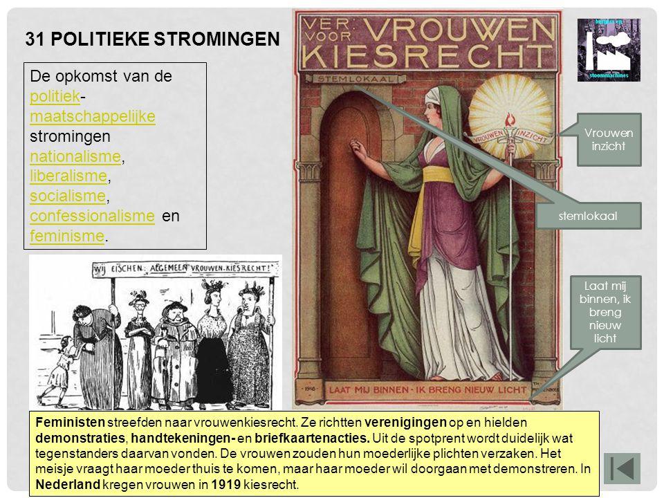 32 DEMOCRATISERING In Nederland bestond halverwege de 19e eeuw censuskiesrecht (1848): alleen burgers die een bepaald bedrag aan belasting betaalden mochten stemmen.