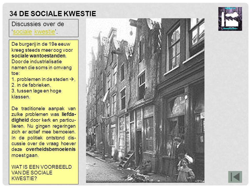 34 DE SOCIALE KWESTIE Discussies over de 'sociale kwestie'.socialekwestie De burgerij in de 19e eeuw kreeg steeds meer oog voor sociale wantoestanden.