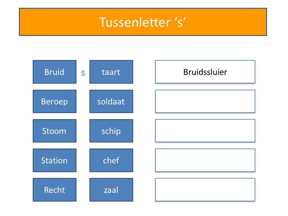 Tussenletter 's' Bruidssluier Bruidtaart Beroepsoldaat Stoomschip Stationchef Rechtzaal s