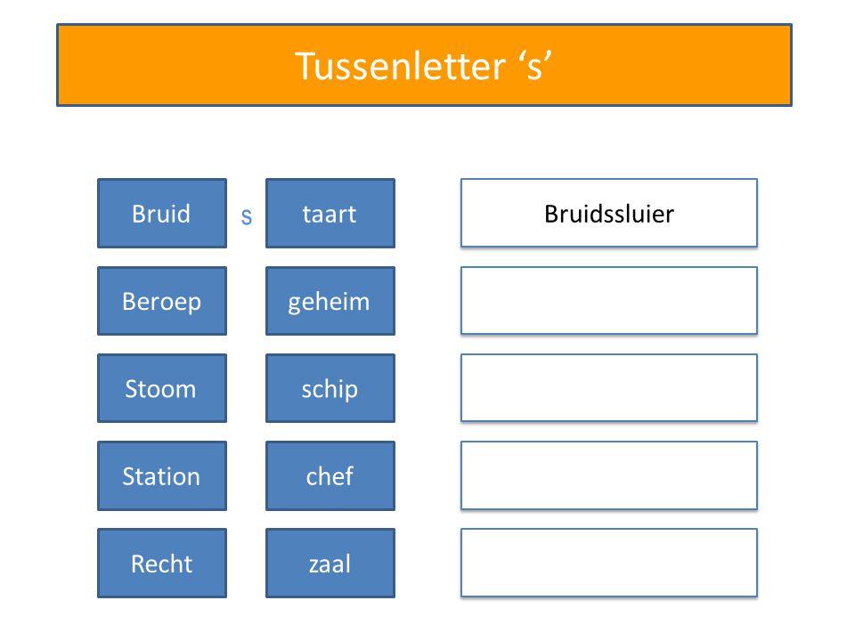 Tussenletter 's' Bruidssluier Bruidtaart Beroepgeheim Stoomschip Stationchef Rechtzaal s