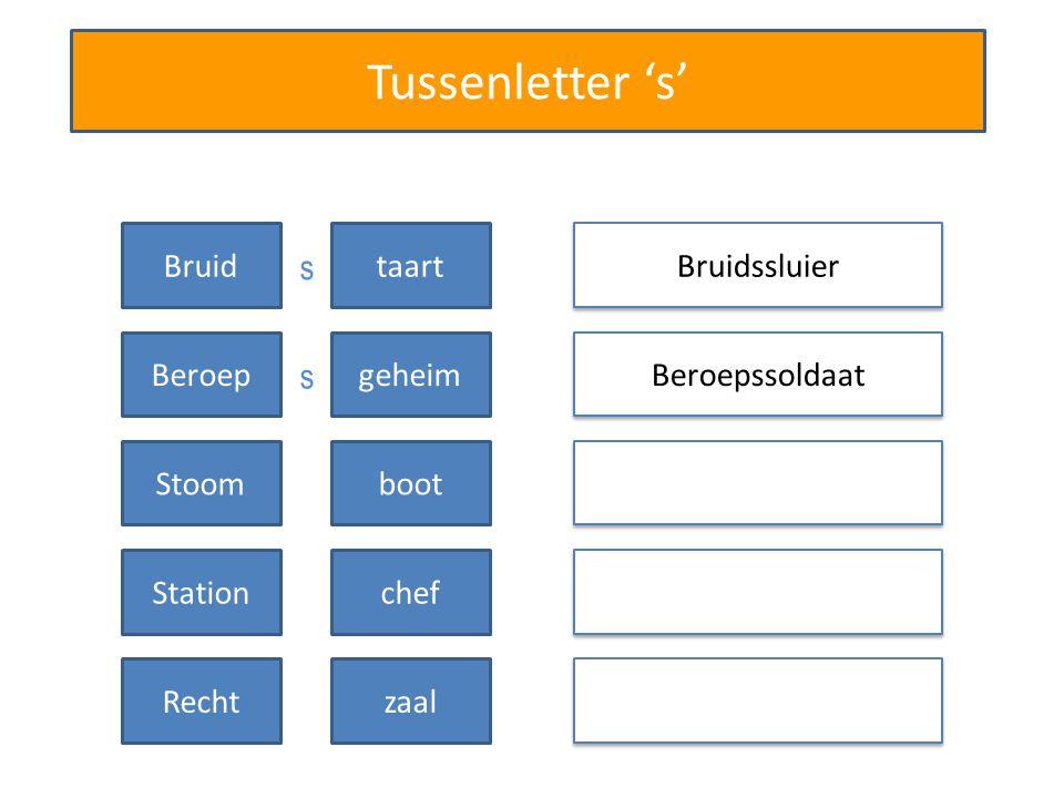 Tussenletter 's' Bruidssluier Beroepssoldaat Bruidtaart Beroepgeheim Stoomboot Stationchef Rechtzaal s s