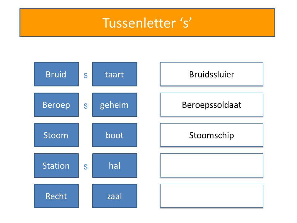 Tussenletter 's' Bruidssluier Beroepssoldaat Bruidtaart Beroepgeheim Stoomschip Stoomboot Stationhal Rechtzaal s s s