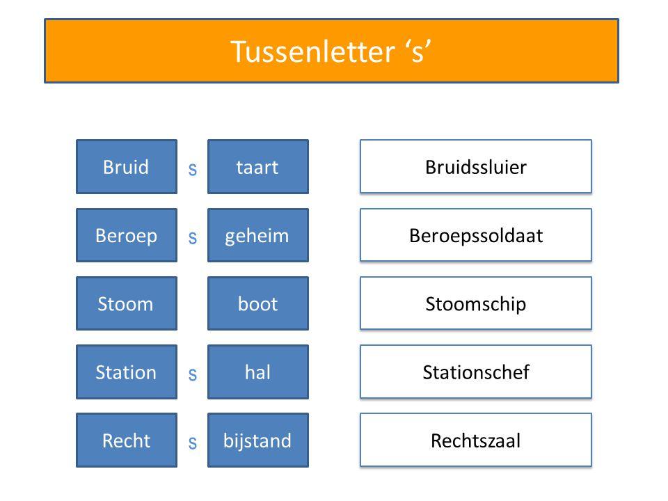 Tussenletter 's' Bruidssluier Beroepssoldaat Stationschef Rechtszaal Bruidtaart Beroepgeheim Stoomschip Stoomboot Stationhal Rechtbijstand s s s s