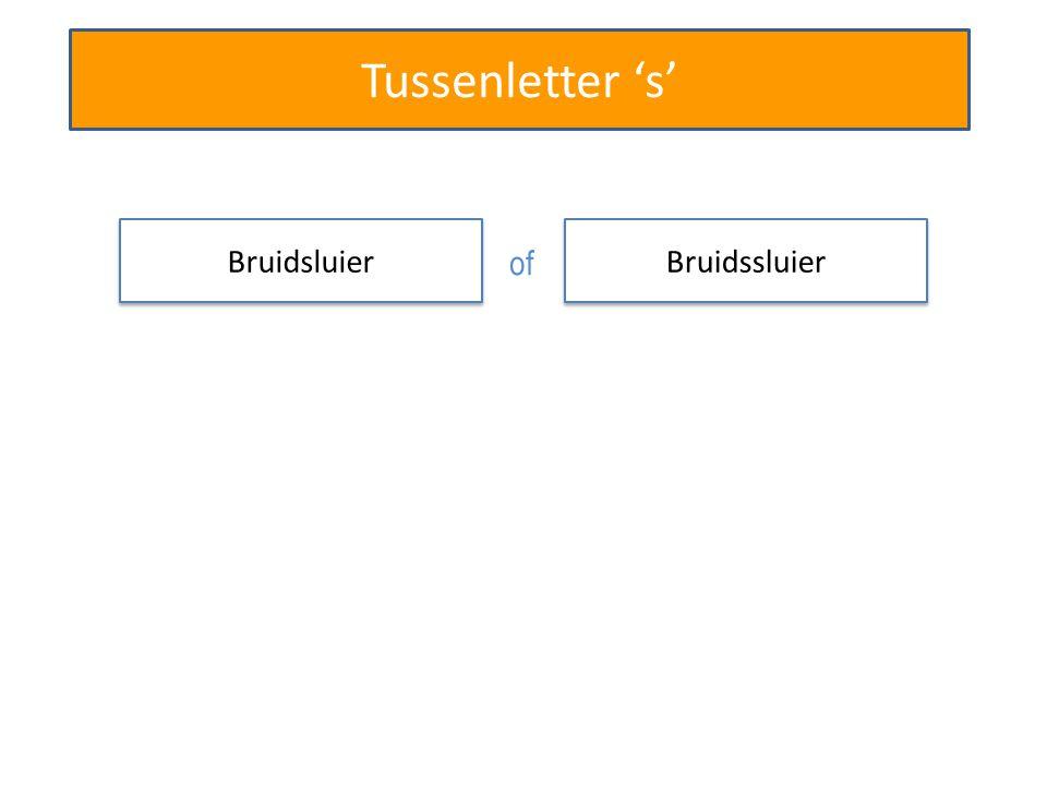 Tussenletter 's' Bruidssluier Beroepssoldaat Bruidtaart Beroepgeheim Stoomschip Stationchef Rechtzaal s s