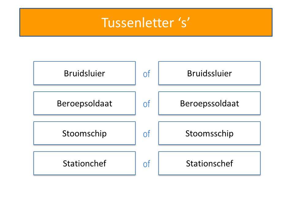 Tussenletter 's' Bruidssluier Beroepssoldaat Stationschef Rechtszaal Stoomsschip Bruidsluier of Beroepsoldaat of Stoomschip of Stationchef of Rechtzaal of