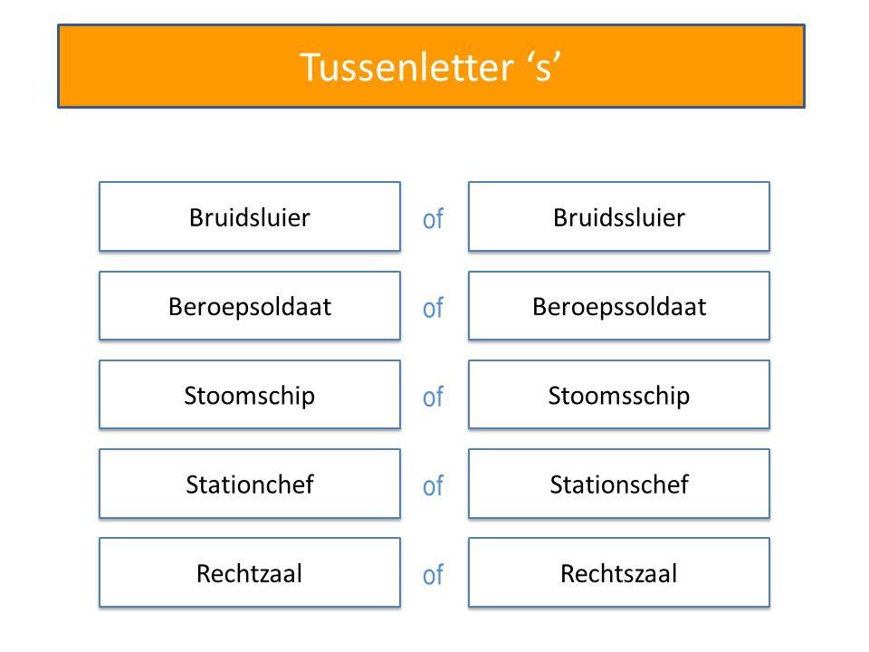 Tussenletter 's' Bruidsluier Beroepsoldaat Stoomschip Stationchef Rechtzaal