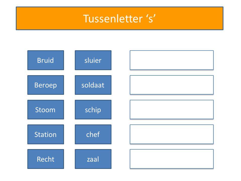 Tussenletter 's' Bruidssluier Beroepssoldaat Stationschef Bruidtaart Beroepgeheim Stoomschip Stoomboot Stationhal Rechtzaal s s s