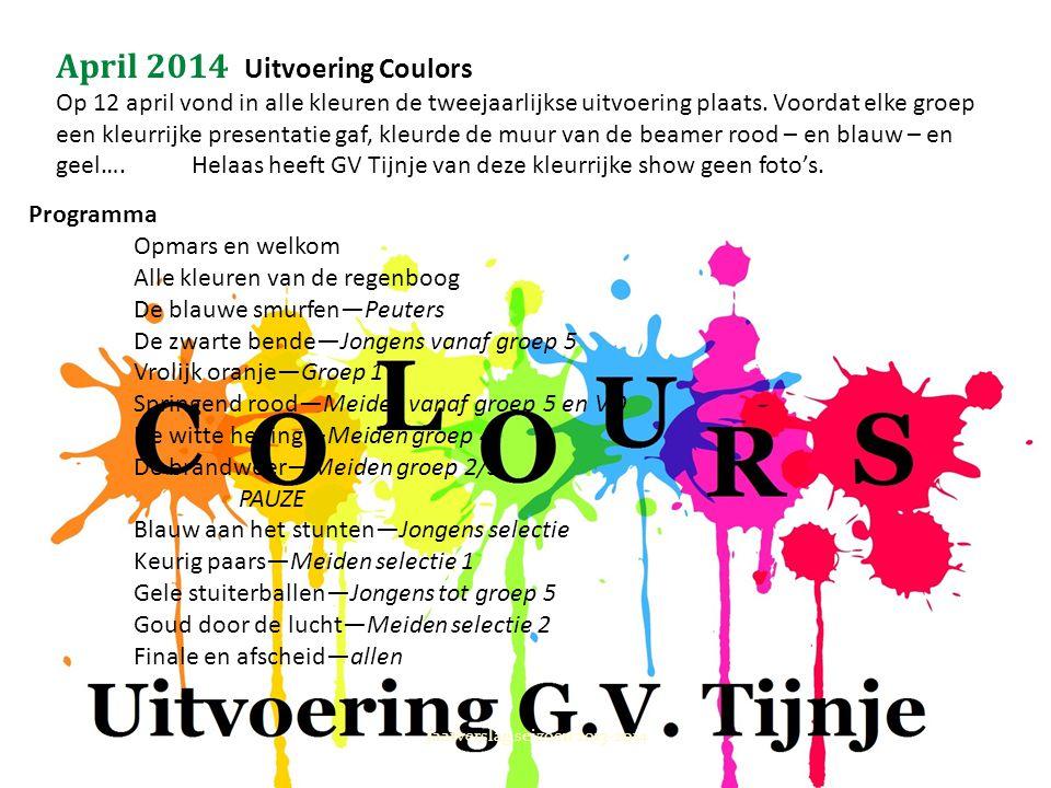 April 2014 Uitvoering Coulors Op 12 april vond in alle kleuren de tweejaarlijkse uitvoering plaats. Voordat elke groep een kleurrijke presentatie gaf,