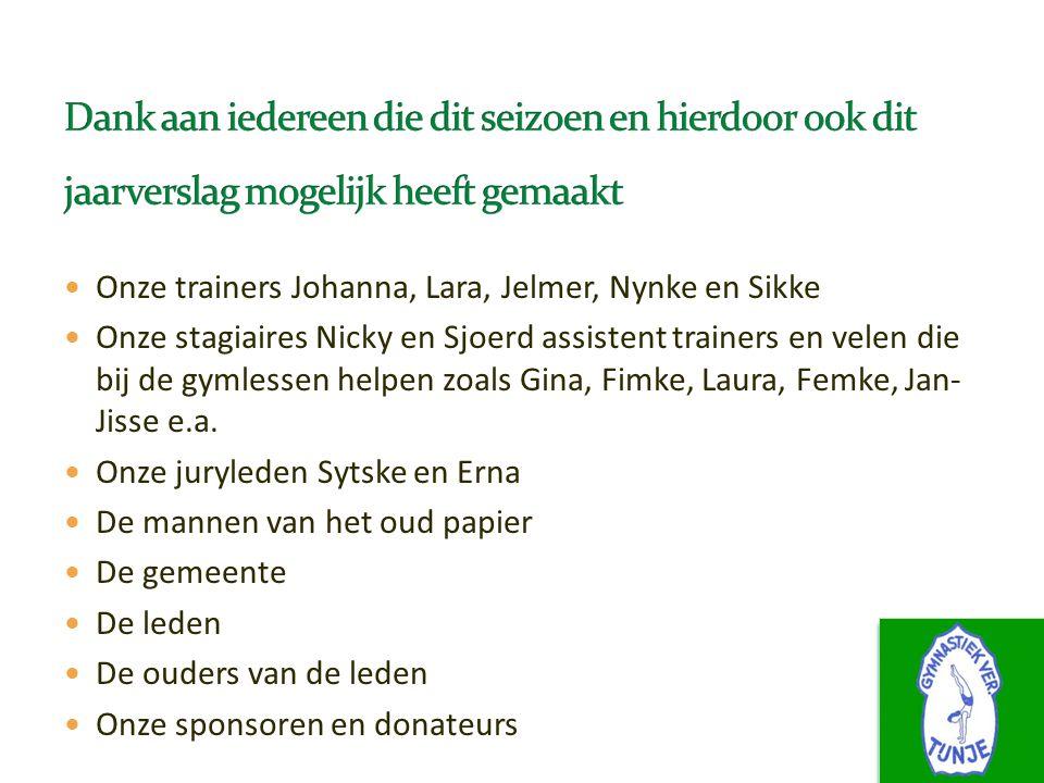 Onze trainers Johanna, Lara, Jelmer, Nynke en Sikke Onze stagiaires Nicky en Sjoerd assistent trainers en velen die bij de gymlessen helpen zoals Gina