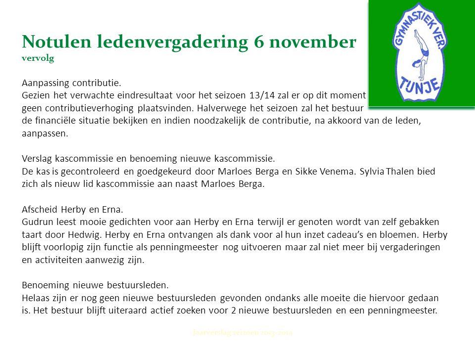 Notulen ledenvergadering 6 november vervolg Aanpassing contributie. Gezien het verwachte eindresultaat voor het seizoen 13/14 zal er op dit moment gee
