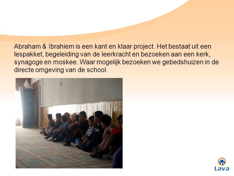 Abraham & Ibrahiem is een kant en klaar project. Het bestaat uit een lespakket, begeleiding van de leerkracht en bezoeken aan een kerk, synagoge en mo