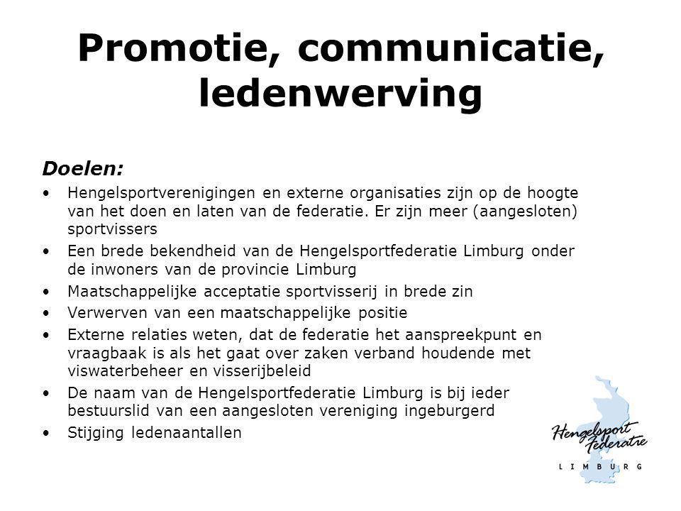 Promotie, communicatie, ledenwerving Doelen: Hengelsportverenigingen en externe organisaties zijn op de hoogte van het doen en laten van de federatie.