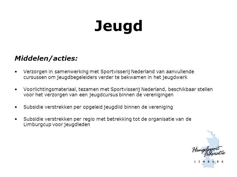 Jeugd Middelen/acties: Verzorgen in samenwerking met Sportvisserij Nederland van aanvullende cursussen om jeugdbegeleiders verder te bekwamen in het j