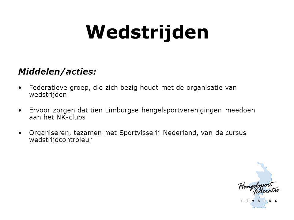 Wedstrijden Middelen/acties: Federatieve groep, die zich bezig houdt met de organisatie van wedstrijden Ervoor zorgen dat tien Limburgse hengelsportve