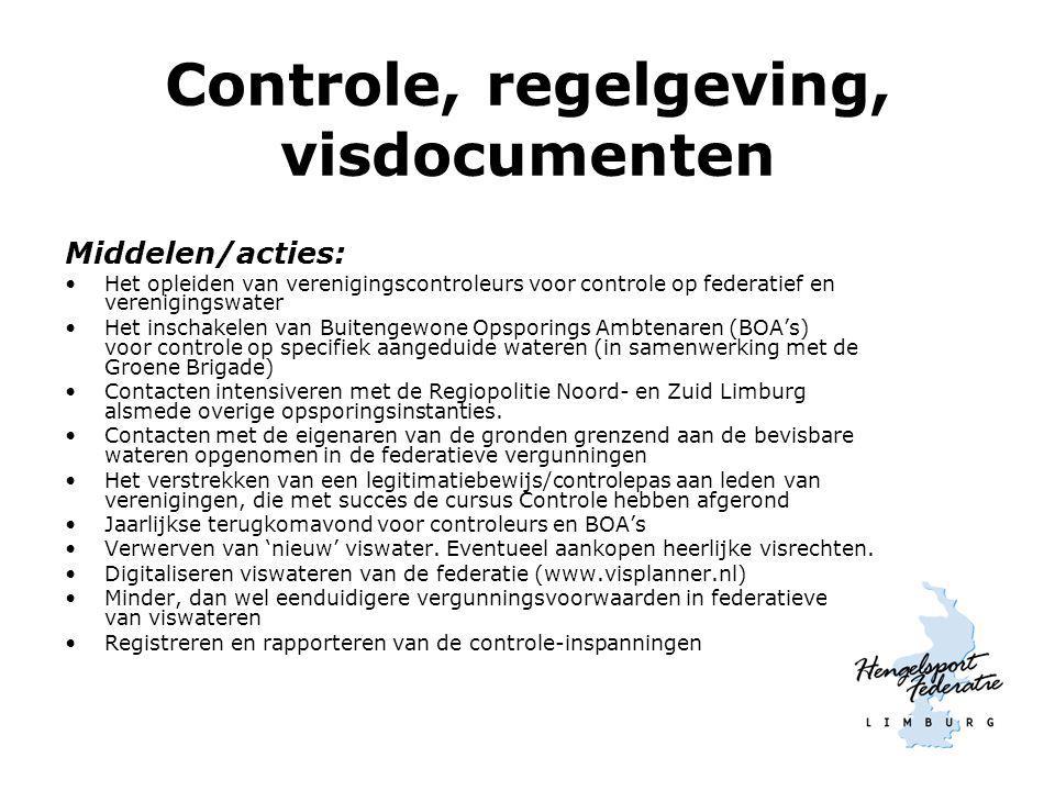 Controle, regelgeving, visdocumenten Middelen/acties: Het opleiden van verenigingscontroleurs voor controle op federatief en verenigingswater Het insc