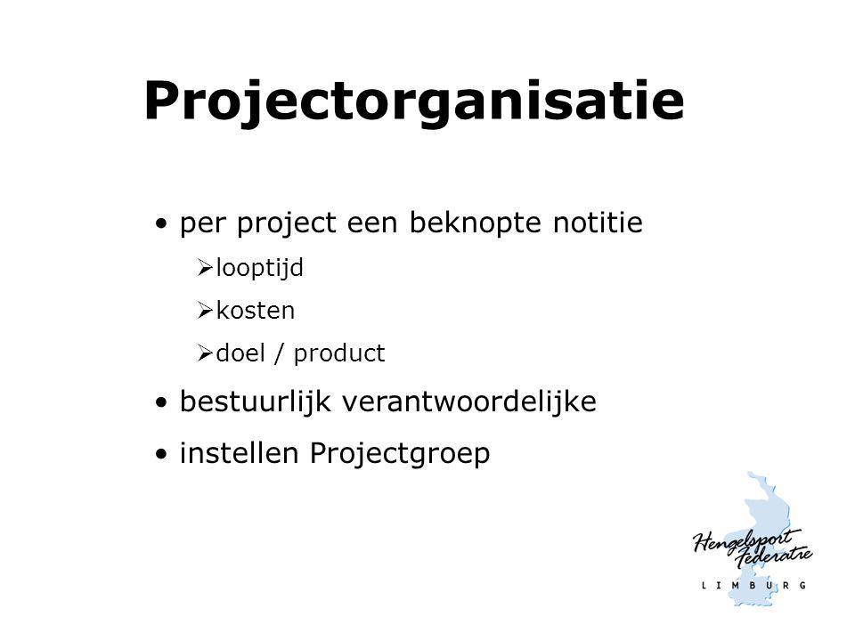 Projectorganisatie per project een beknopte notitie  looptijd  kosten  doel / product bestuurlijk verantwoordelijke instellen Projectgroep