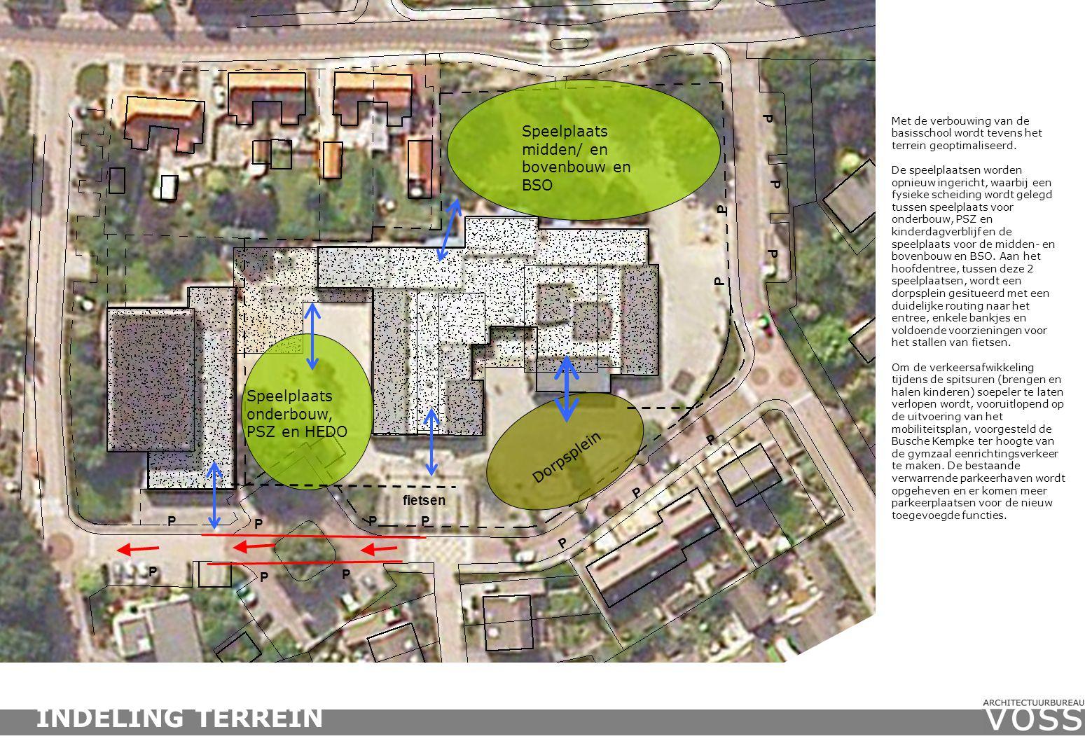 Speelplaats onderbouw, PSZ en HEDO P P P P P Speelplaats midden/ en bovenbouw en BSO Dorpsplein P P P P P P P P Met de verbouwing van de basisschool wordt tevens het terrein geoptimaliseerd.
