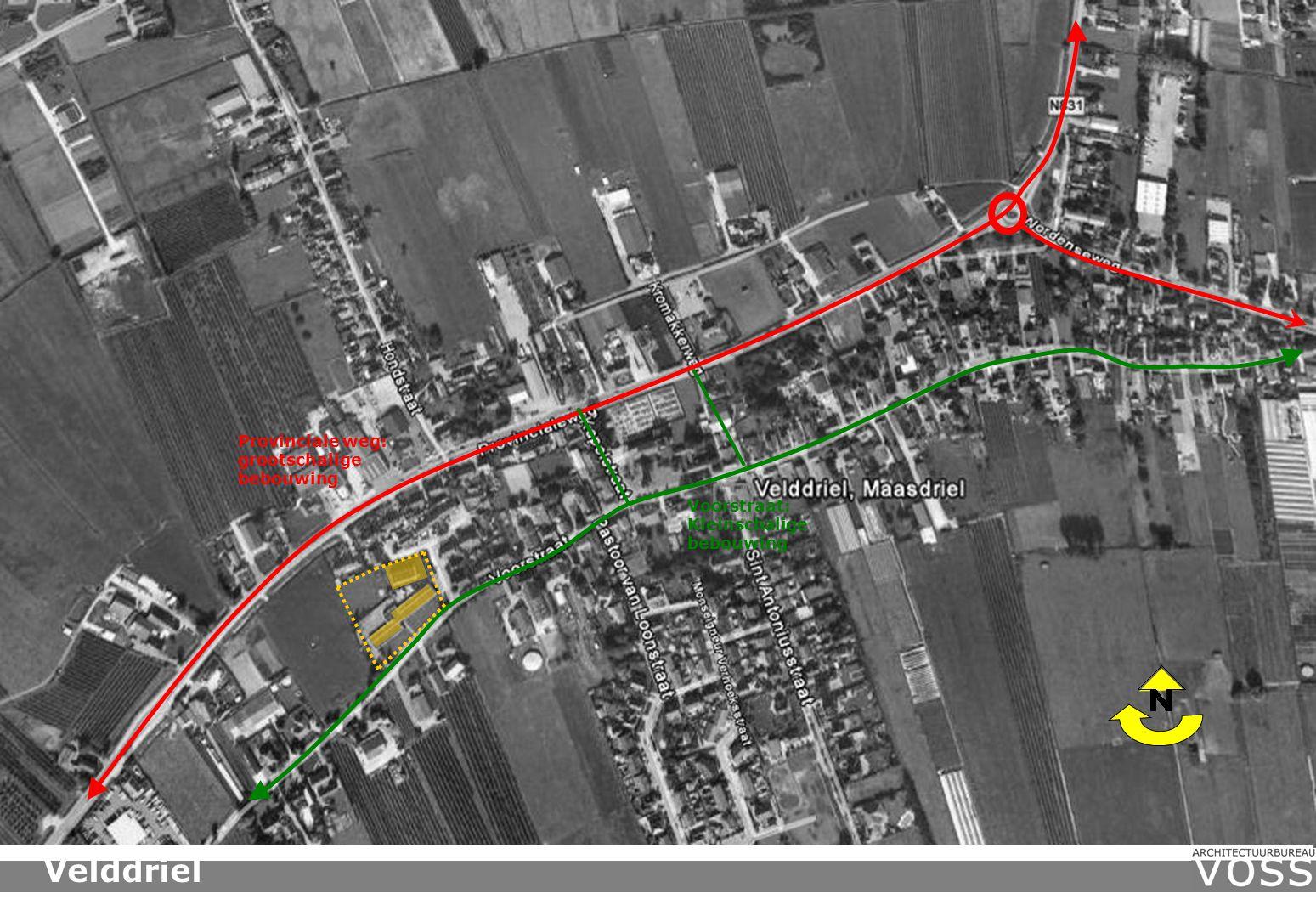 Provinciale weg: grootschalige bebouwing Voorstraat: Kleinschalige bebouwing Velddriel