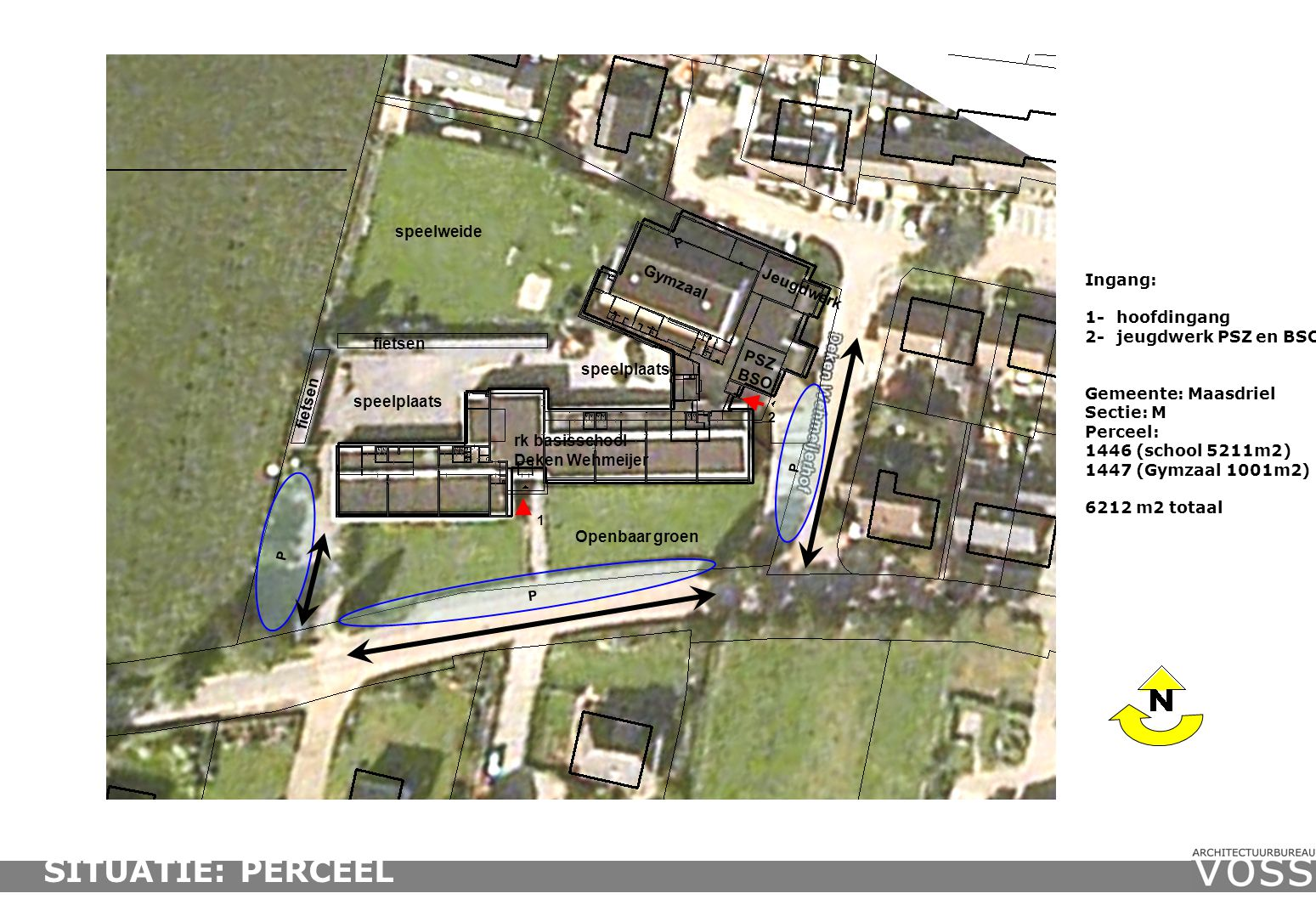 Ingang: 1-hoofdingang 2-jeugdwerk PSZ en BSO Gemeente: Maasdriel Sectie: M Perceel: 1446 (school 5211m2) 1447 (Gymzaal 1001m2) 6212 m2 totaal fietsen PSZ BSO rk basisschool Deken Wehmeijer Jeugdwerk P P 1 2 Gymzaal fietsen P P speelplaats speelweide Openbaar groen speelplaats SITUATIE: PERCEEL