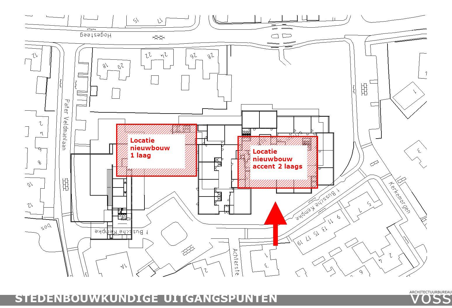 Locatie nieuwbouw accent 2 laags STEDENBOUWKUNDIGE UITGANGSPUNTEN Locatie nieuwbouw 1 laag