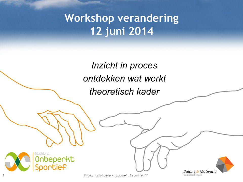 Workshop verandering 12 juni 2014 Inzicht in proces ontdekken wat werkt theoretisch kader Workshop onbeperkt sportief, 12 juni 20141