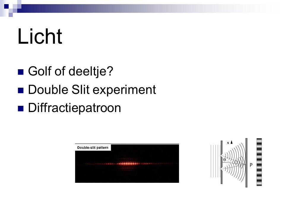 Licht Golf of deeltje? Double Slit experiment Diffractiepatroon