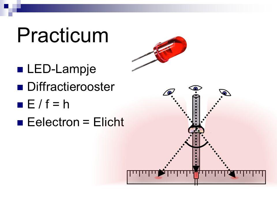 Practicum LED-Lampje Diffractierooster E / f = h Eelectron = Elicht